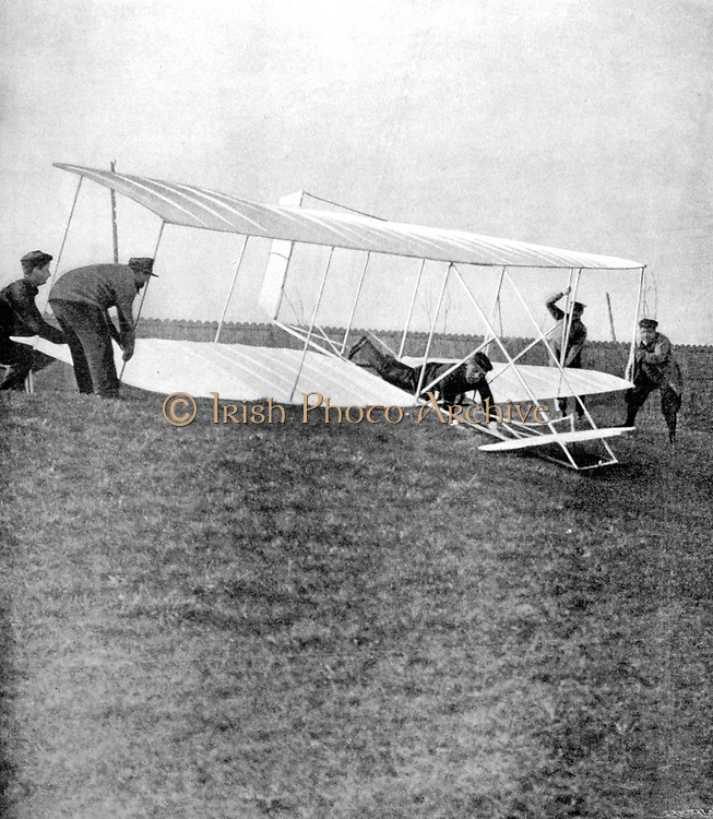 Ernest Archdeacon (1863-1950) French lawyer and aviation pioneer in the take-off position in his copy of a Wright glider.  Founder of Aero-Club de France. From 'La Vie au Grand Air', Paris, 25 February 1904. Aviator Aeronautics