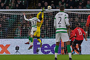 Rennes Keeper Edouard Mendy (16) fumbles a high ball during the Europa League match between Celtic and Rennes at Celtic Park, Glasgow, Scotland on 28 November 2019.