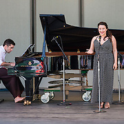 Soprano Yulia Van Doren and pianist Colin Fowler perform works by Henry Cowell and Charles Ives at Libbey Bowl on June 9, 2013 in Ojai, California.