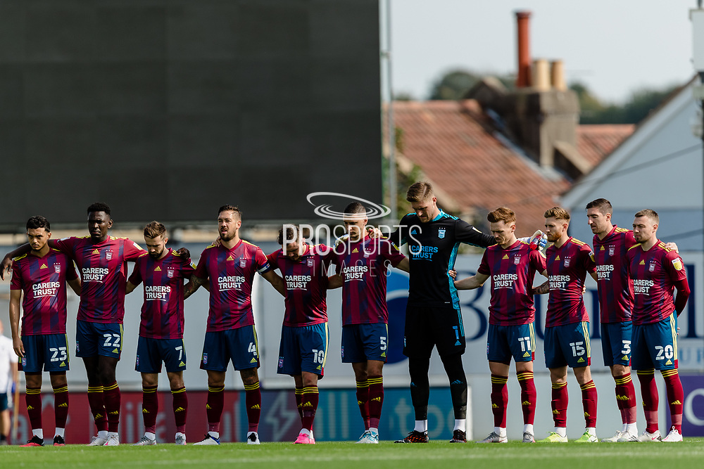 Ipswich Town players take part in a minutes silence for ex Rovers Chief Executive Gordon Bennett during the EFL Sky Bet League 1 match between Bristol Rovers and Ipswich Town at the Memorial Stadium, Bristol, England on 19 September 2020.