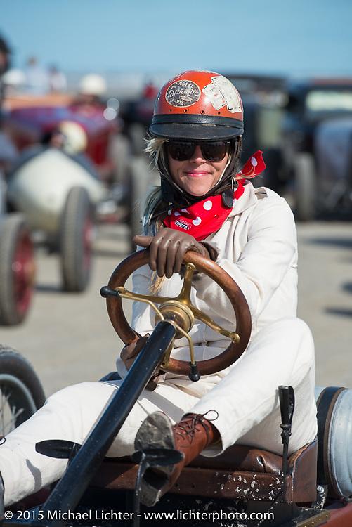 Jesse Combs driving her Craftsman sponsored car at the Race of Gentlemen. Wildwood, NJ, USA. October 10, 2015.  Photography ©2015 Michael Lichter.