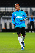 Andre Wisdom of Derby County (2) in the warm up during the EFL Sky Bet Championship match between Derby County and Cardiff City at the Pride Park, Derby, England on 28 October 2020.