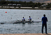 Marathon, GREECE, General Views,  coach discussing, with his crew, at the venue for the 2004 Olypmic game and the 2008 FISA European Rowing Championships.  Lake Schinias Rowing Course, Thur's.18.09.2008  [Mandatory Credit Peter Spurrier/ Intersport Images] , Rowing Course; Lake Schinias Olympic Rowing Course. GREECE