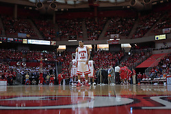 """31 January 2009: Lloyd Phillips takes a position in the close court waiting for the game to begin after a time out.  The Illinois State University Redbirds join the Bradley Braves in a tie for 2nd place in """"The Valley"""" with a 69-65 win on Doug Collins Court inside Redbird Arena on the campus of Illinois State University in Normal Illinois"""