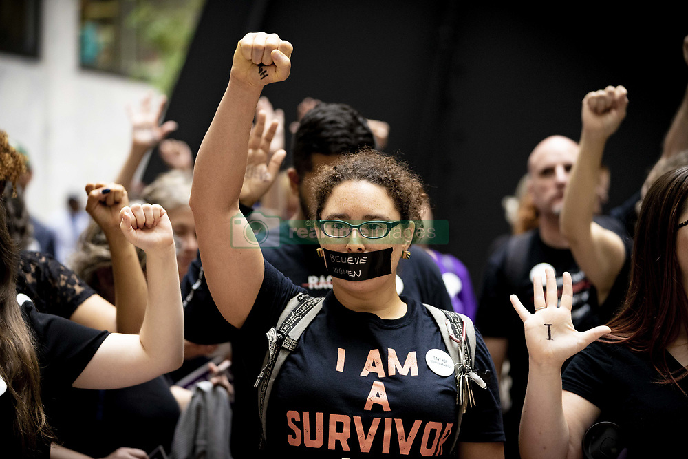 September 27, 2018 - Washington, District of Columbia, U.S. - Protesters assembled in the foyer of the Hart Senate Office Building during the hearing of Brett Kavanaugh and Christine Blasey-Ford in the neighboring Dirksen office building. (Credit Image: © Douglas Christian/ZUMA Wire)