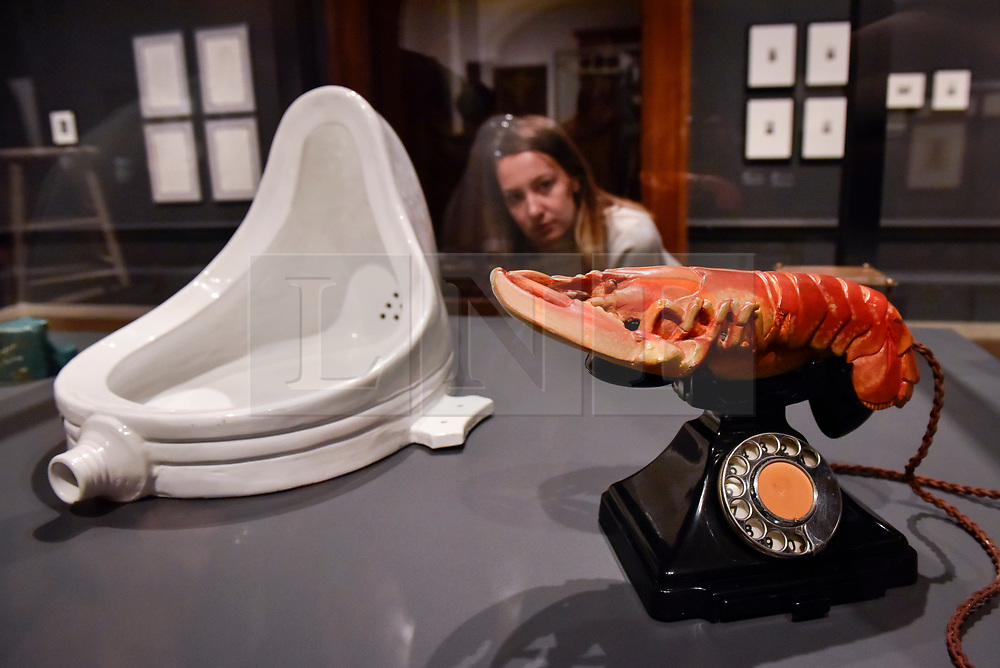 "© Licensed to London News Pictures. 03/10/2017. London, UK.  A staff member views (L to R) ""Fountain, 1917"", 1964 edition, by Michel Duchamp and ""Lobster Telephone (red)"", 1938, by Salvador Dali with Edward James at the preview of ""Dali / Duchamp"", a new exhibition of works by Salvador Dali and Michel Duchamp taking place at the Royal Academy of Arts in Piccadilly.  Over 80 artworks in different media are on display from 7 October to 3 January 2018.   Photo credit : Stephen Chung/LNP"
