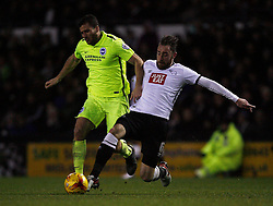 Tomer Hemed of Brighton & Hove Albion (L) and Richard Keogh of Derby County in action - Mandatory byline: Jack Phillips / JMP - 07966386802 - 12/12/2015 - FOOTBALL - The iPro Stadium - Derby, Derbyshire - Derby County v Brighton & Hove Albion - Sky Bet Championship