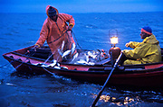 Fishermen at work at day break on Lake Rocha, Uruguay