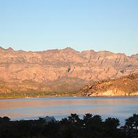 Mexico, Baja California Sur, Loreto. Sunrise over Danzante Bay, view from Villa del Palmar Loreto.