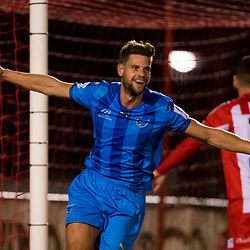 BRISBANE, AUSTRALIA - AUGUST 6: Sam Smith of Gold Coast City celebrates scoring a goal during the NPL Queensland Senior Mens Round 20 match between Olympic FC and Gold Coast City FC at Goodwin Park on August 6, 2017 in Brisbane, Australia. (Photo by Patrick Kearney/Olympic FC)