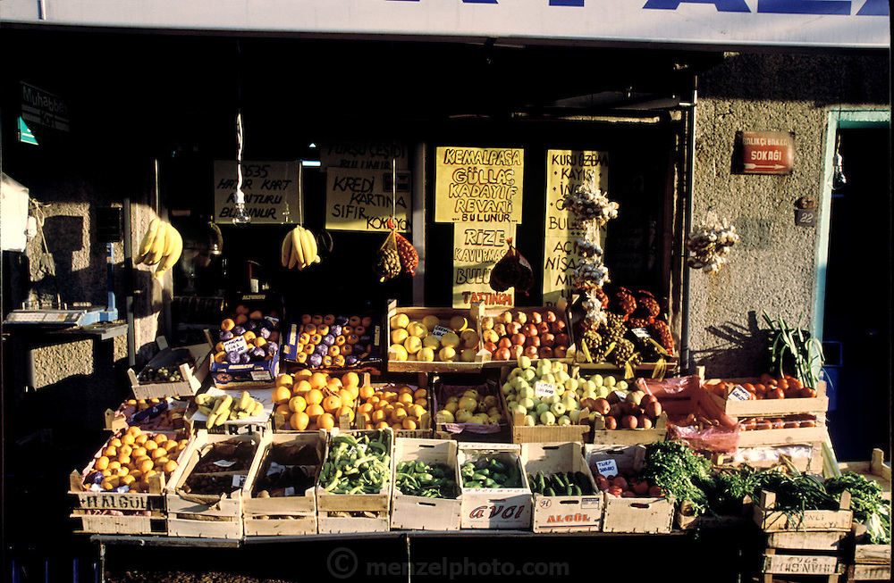 A vegetable stand at a market in Istanbul, Turkey. (Supporting image from the project Hungry Planet: What the World Eats.) Small markets are still the lifeblood of communities in the developing world.