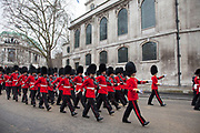 London Wednesday 17th April 2013. The funeral of former Prime Minister Baroness Margaret Thatcher. Members of the Guards armed forces parade past St Clement Danes Church prior to the funeral procession.