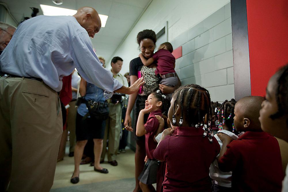 Washington, Aug. 23, 2010 -Washington Mayor Adrian Fenty tours J.O. Wilson Elementary School with DC Public Schools Chancellor Michelle Rhee on Monday, Aug. 23, 2010 in Washington.