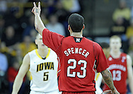 January 26, 2012: Nebraska Cornhuskers guard Bo Spencer (23) calls a play during the NCAA basketball game between the Nebraska Cornhuskers and the Iowa Hawkeyes at Carver-Hawkeye Arena in Iowa City, Iowa on Thursday, January 26, 2012.