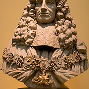 Marble bust of Prince Rupert of the Rhine (1619-82) wearing the collar and mantle of the Order of the Garter. It is on display in the British Museum in London. The British Museum in downtown London us dedicated to human history and culture and has about 8 million works in its permanent collection.