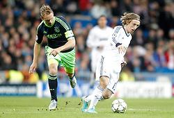 04-12-2012 VOETBAL: CL REAL MADRID - AFC AJAX AMSTERDAM: MADRID<br /> Luka Modric against Siem de Jong <br /> ***NETHERLANDS ONLY***<br /> ©2012-FotoHoogendoorn.nl