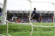 Oumar Niasse of Everton  (l) shoots and scores his teams 1st goal to make it 1-1. Premier league match, Everton vs Bournemouth at Goodison Park in Liverpool, Merseyside on Saturday 23rd September 2017.<br /> pic by Chris Stading, Andrew Orchard sports photography.