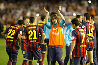 F.C. Barcelona´s Puyol (C) during the Spanish Copa del Rey `King´s Cup´ final soccer match between Real Madrid and F.C. Barcelona at Mestalla stadium, in Valencia, Spain. April 16, 2014. (ALTERPHOTOS/Victor Blanco)
