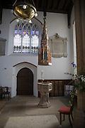 Elaborate christening cover and font,St. Mary's Parish Church, Woodbridge, Suffolk, England