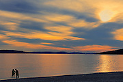 Beach combers on Schreiber Beach on Lake Superior <br /> Schreiber<br /> Ontario<br /> Canada