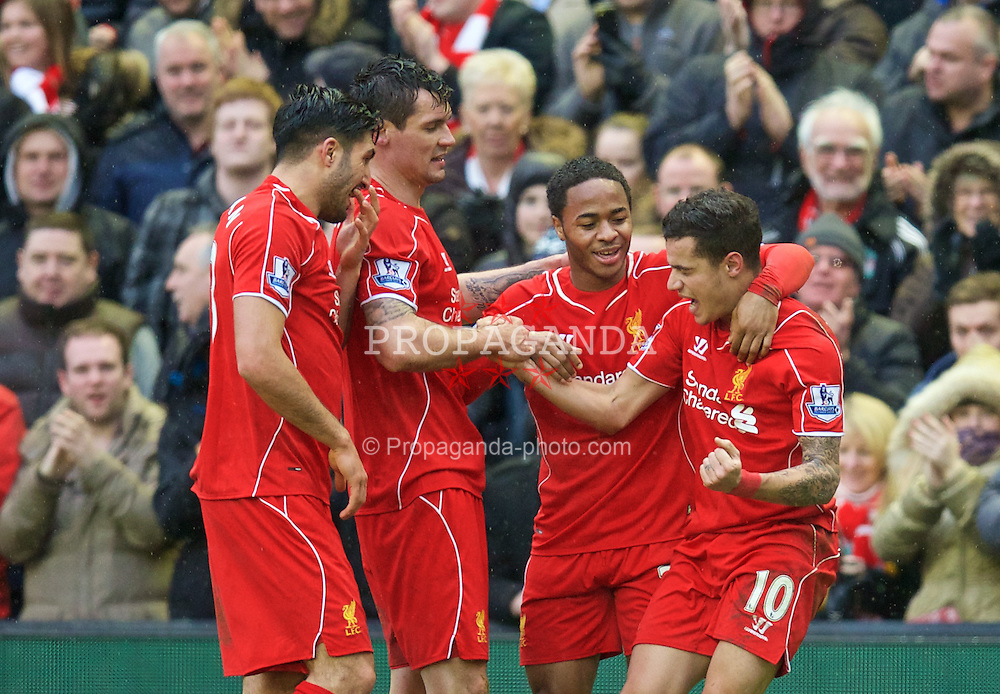 LIVERPOOL, ENGLAND - Sunday, March 1, 2015: Liverpool's Philippe Coutinho Correia celebrates scoring the second goal against Manchester City during the Premier League match at Anfield. (Pic by David Rawcliffe/Propaganda)