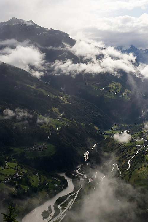 IFTE-NB-007638; Niall Benvie; panorama element; View into the valley around Fliess from Kaunergrat visitor's centre; Austria; Europe; Tirol; vertical; grey blue; forest woodland; 2008; July; summer; fog mist rain cloud; Wild Wonders of Europe Naturpark Kaunergrat