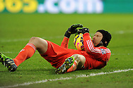 Chelsea goalkeeper Petr Cech had little to do but claims this ball. Barclays Premier League match, Swansea city v Chelsea at the Liberty Stadium in Swansea, South Wales on Saturday 17th Jan 2015.<br /> pic by Andrew Orchard, Andrew Orchard sports photography.