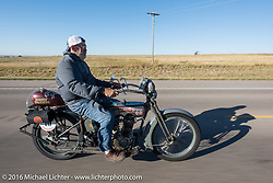Bill Page of Kansas riding his single-cylinder 1915 Harley-Davidson class-2 motorcyle during the Motorcycle Cannonball Race of the Century. Stage-9 Dodge City, KS to Pueblo, CO. USA. Monday September 19, 2016. Photography ©2016 Michael Lichter.
