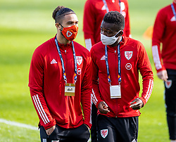 DUBLIN, REPUBLIC OF IRELAND - Sunday, October 11, 2020: Wales' Tyler Roberts (L) and Rabbi Matondo (R), wearing face masks, during the UEFA Nations League Group Stage League B Group 4 match between Republic of Ireland and Wales at the Aviva Stadium. The game ended in a 0-0 draw. (Pic by David Rawcliffe/Propaganda)