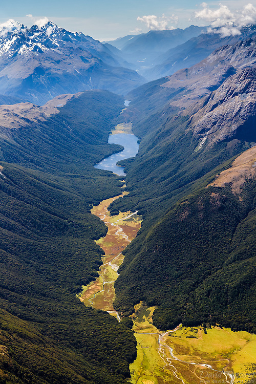 View of the McKellar Lake in Otago, New Zealand. It finishes its course in the Wakatipu lake further Est.