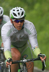 Kristjan Fajt of Slovenia (Perutnina Ptuj) leading the peloton in last 4th stage of the 15th Tour de Slovenie from Celje to Novo mesto (157 km), on June 14,2008, Slovenia. (Photo by Vid Ponikvar / Sportal Images)/ Sportida)