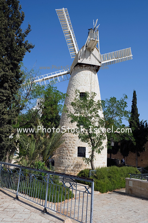 The windmill at Yemin Moshe, Jerusalem was erected by Moshe Moses Montefiore in 1857 for grinding grain into flour