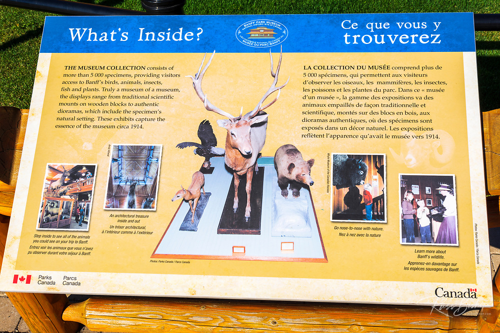 Interpretive sign at the Banff Museum, Banff National Park, Alberta, Canada