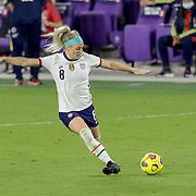 ORLANDO, FL - JANUARY 22:  Julie Ertz #8 of United States kicks the ball against Colombia at Exploria Stadium on January 22, 2021 in Orlando, Florida. (Photo by Alex Menendez/Getty Images) *** Local Caption *** Julie Ertz
