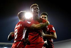 Tammy Abraham of Bristol City celebrates with teammates after scoring the winning goal against Fulham - Mandatory by-line: Robbie Stephenson/JMP - 21/09/2016 - FOOTBALL - Craven Cottage - Fulham, England - Fulham v Bristol City - EFL Cup
