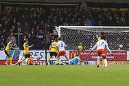 Luton Town forward James Collins (19) scores a goal and celebrates 1-0 during the EFL Sky Bet League 1 match between Burton Albion and Luton Town at the Pirelli Stadium, Burton upon Trent, England on 27 April 2019.