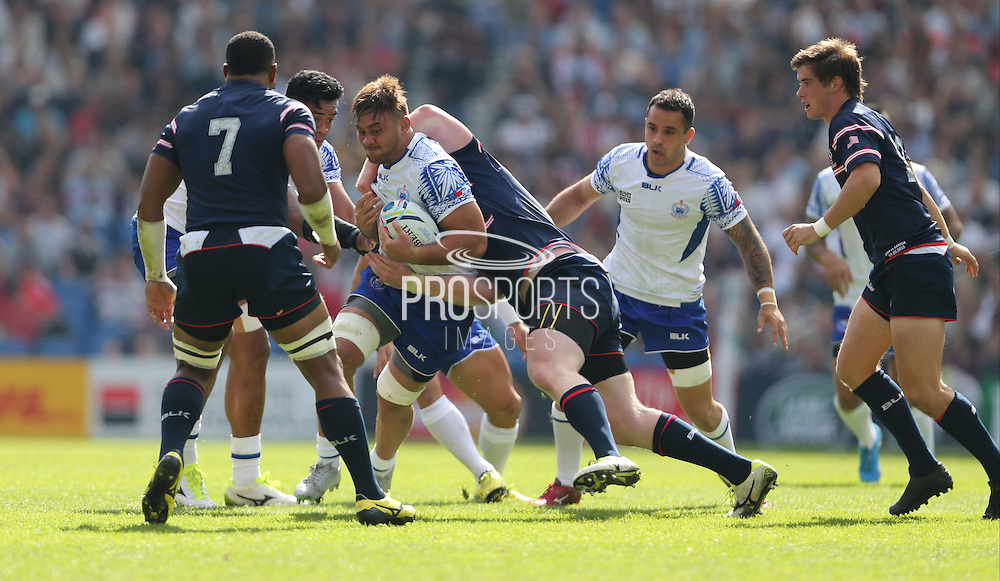 Samoa Jack Lam in action during the Rugby World Cup 2015 match between Samoa and USA at the Brighton Community Stadium, Falmer, United Kingdom on 20 September 2015.