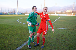 ZENICA, BOSNIA AND HERZEGOVINA - Tuesday, November 28, 2017: Wales' goalkeeper Laura O'Sullivan and captain Sophie Ingle celebrate after the 1-0 victory over Bosnia and Herzegovina during the FIFA Women's World Cup 2019 Qualifying Round Group 1 match between Bosnia and Herzegovina and Wales at the FF BH Football Training Centre. (Pic by David Rawcliffe/Propaganda)