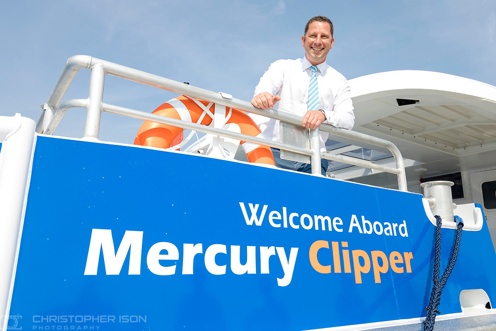 IMAGE PROVIDED FREE FOR EDITORIAL USE<br /> Sean Collins, CEO and co-founder of MBNA Thames Clippers pictured on board the newest addition to London's river bus transport network, Mercury Clipper, in East Cowes today as the vessel begins a 200 nautical mile maiden journey to the Capital from the Isle of Wight. Joining the MBNA Thames Clippers fleet, Mercury Clipper, is the first of two new boats that will enter service in London this summer. Six members of crew – with over 80 years of combined experience between them – will carry out the 12 hour journey, at an average speed of 20 knots. <br />  <br /> A £6.3 million investment in London's port and transport infrastructure, Mercury Clipper and Jupiter Clipper have been built at the Wight Shipyard Co Ltd on the Isle of Wight. The boats took 10 months to build, creating over 75 new jobs across the Isle of Wight and London, including the hiring of two dedicated apprentices and engagement with over 100 local suppliers from across the South of England.<br />  <br /> For more information, please visit www.mbnathamesclippers.com<br /> Picture date: Wednesday June 21, 2017.<br /> Photograph by Christopher Ison ©<br /> 07544044177<br /> chris@christopherison.com<br /> www.christopherison.com