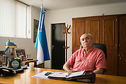 2014/11/19 - Monte Maiz, Argentina: Mayor of Monte Maiz, Dr. Luís Maria Trotte, a former paediatrician, in his office in the Town Hall. The mayor said he has a plan to move and forbid the parking of pulverization machines and agro-chemicals inside the town. He is waiting for the confirmation that the pesticides are the cause of such growth of cancer cases in Monte Maiz. Dr. Luís Maria Trotte was also diagnosed with cancer. (Eduardo Leal)