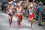 Kengo Suzuki (left) and Shogo Nakamura run in the men's race during the Marathon Grand Championship, Sunday Sept. 15 2019, in Tokyo. Nakamura won in 2:11:28. (Agence SHOT/Image of Sport)