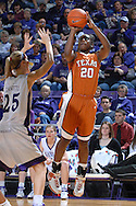 Texas guard Erneisha Bailey (20) fires a shot over Kansas State's Danielle Zanotti (25), during the first half at Bramlage Coliseum in Manhattan, Kansas, February 3, 2007.  Texas beat K-State 61-34.