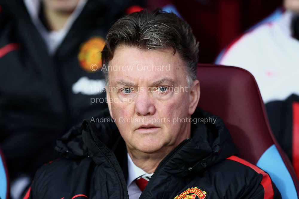 Manchester United manager Louis Van Gaal looks on.<br /> Barclays Premier league match, Aston Villa v Manchester Utd at Villa Park in Birmingham on Saturday 20th December 2014<br /> pic by Mark Hawkins, Andrew Orchard sports photography.