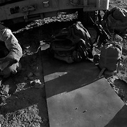Alexander The Great invasion route to Kandahar <br /> Sep 09, 2009 - Farah Province, Afghanistan - A US Marine sits by his armored vehicle (HUMVEE) eating a military ration after several days of fighting in the Buji Bast Pass, where insurgents have planted numerous roadside bombs, mines and IED's in Golestan, Farah Province, Afghanistan.<br /> (Credit Image: © Louie Palu/ZUMA Press)