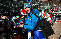 Jurij Tepes of Slovenia with fans during the Trial Round of the Ski Flying Hill Individual Competition at Day 1 of FIS Ski Jumping World Cup Final 2019, on March 21, 2019 in Planica, Slovenia. Photo by Vid Ponikvar / Sportida