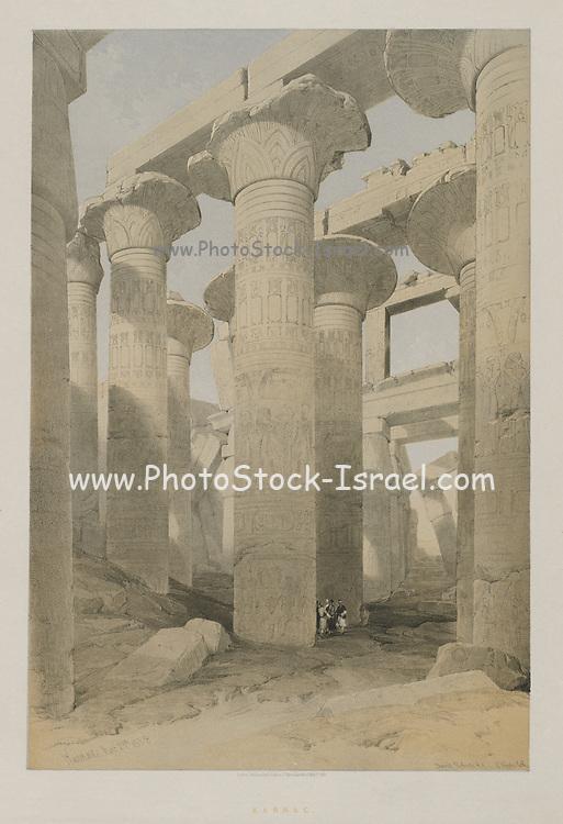 Karnac (Karnak) Egypt Egypt and Nubia, Volume II: Karnac, 1847. Louis Haghe (British, 1806-1885), F.G.Moon, 20 Threadneedle Street, London, after David Roberts (British, 1796-1864). Color lithograph; sheet: 60.3 x 43.6 cm (23 3/4 x 17 3/16 in.); image: 48.7 x 32.7 cm (19 3/16 x 12 7/8 in.)