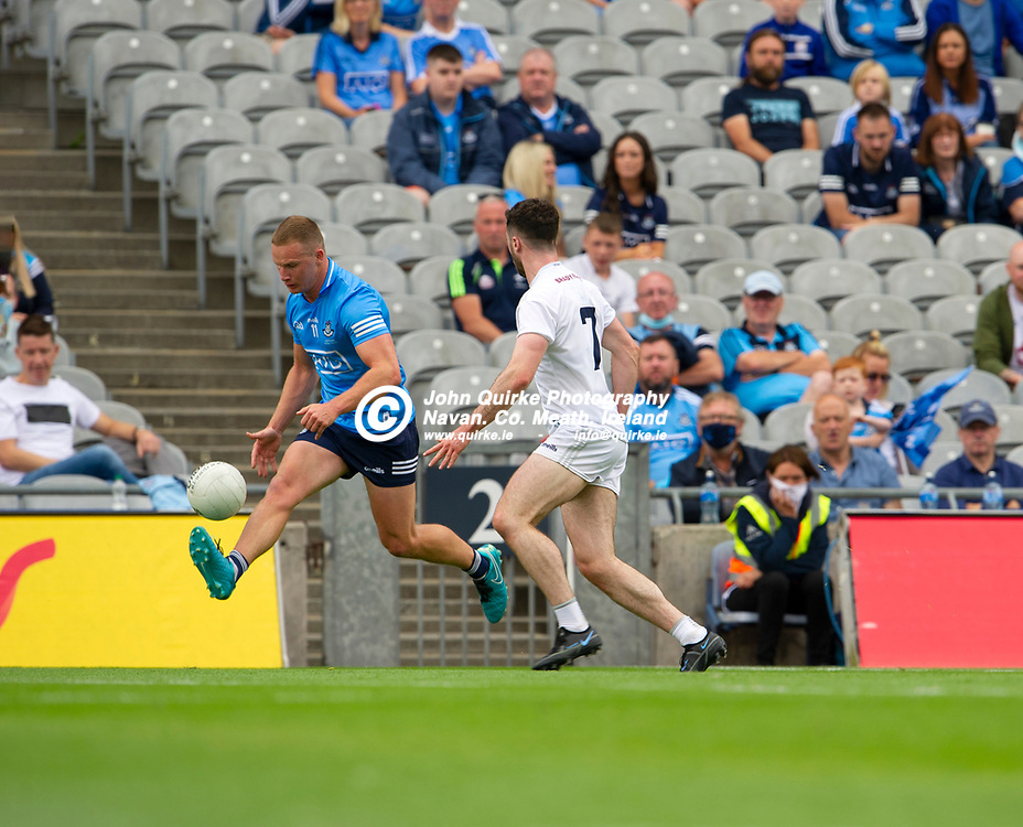 01–08-21.<br /> Dublin v Kildare - Leinster Senior Football Championship Final at Croke Park.<br /> Ciaran Kilkenny, Dublin in action against Kevin Flynn, Kildare in the Leinster Senior Football Championship Final.<br /> Photo: John Quirke / www.quirke.ie<br /> ©John Quirke Photography, 16 Proudstown Road, Navan. Co. Meath. (info@quirke.ie / 046-9028461 / 087-2579454).