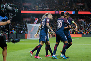 Layvin Kurzawa (psg) celebrated it goal scored from a decisive ball kicked by Neymar da Silva Santos Junior - Neymar Jr (PSG), celebration with Daniel Alves da Silva (PSG), Neymar da Silva Santos Junior - Neymar Jr (PSG) and Thiago Silva (PSG)during the French championship L1 football match between Paris Saint-Germain (PSG) and Toulouse Football Club, on August 20, 2017, at Parc des Princes, in Paris, France - Photo Stephane Allaman / ProSportsImages / DPPI