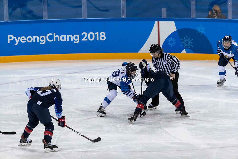 Faceoff during USA-FInland Women's Hockey competition at the Olympic Winter Games PyeongChang 2018