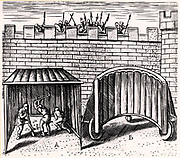 Military engineering: Sappers using a 'sow', A, to begin excavations outside the walls of a city under siege. B is a wheeled shield with its tough leather protective cover turned back to show its construction.  From 'Poliorceticon' by Justus Lipsius (Antwerp, 1605). Copperplate engraving.